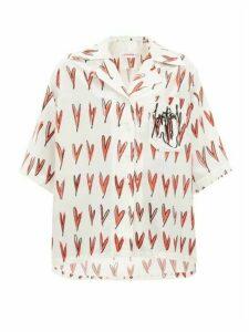 Charles Jeffrey Loverboy - Heart-print Silk Shirt - Womens - Red White