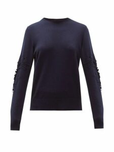 Barrie - Pointelle-sleeve Cashmere Sweater - Womens - Navy