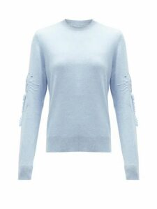 Barrie - Embroidered-sleeve Cashmere Sweater - Womens - Light Blue