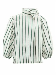 Redvalentino - Pussy-bow Striped Cotton-blend Blouse - Womens - Green White