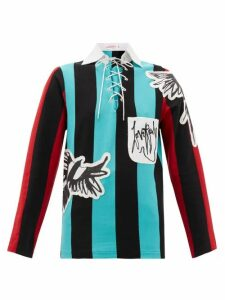 Charles Jeffrey Loverboy - Magpie-appliqué Striped Cotton Top - Womens - Black Multi