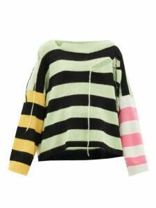 Charles Jeffrey Loverboy - Distressed Striped Merino Wool-blend Sweater - Womens - Multi