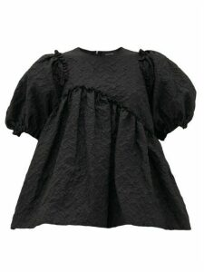 Simone Rocha - Puff-sleeve Floral-cloqué Top - Womens - Black