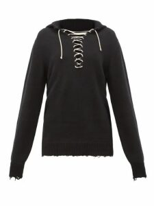 Ann Demeulemeester - Distressed Cotton-knit Sailor Sweater - Womens - Black