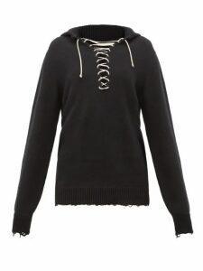 Ann Demeulemeester - Distressed Cotton-knit Sailor Sweater - Womens - Black