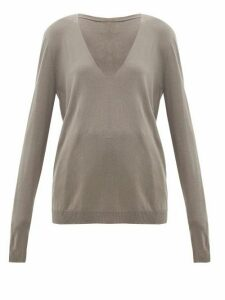 Rick Owens - V-neck Wool Sweater - Womens - Grey