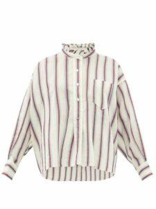 Isabel Marant Étoile - Olena Striped Ruffle-neck Cotton-blend Shirt - Womens - Ivory Multi