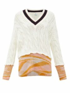 M Missoni - V-neck Cable-knit Sweater - Womens - White