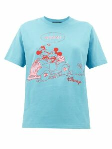 Gucci - Mickey Mouse-print Cotton T-shirt - Womens - Blue