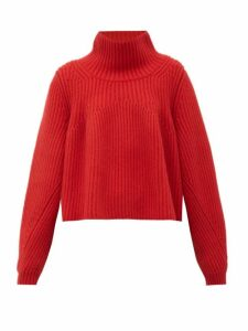 Khaite - Denney High-neck Ribbed-cashmere Sweater - Womens - Red
