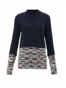 M Missoni - Contrast-trim Cashmere-blend Sweater - Womens - Navy