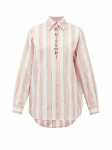 M Missoni - Logo-embroidered Striped Poplin Shirt - Womens - Pink White