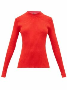 La Fetiche - Albini Mock-neck Ribbed-knit Cotton Sweater - Womens - Red