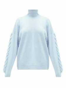 Barrie - High-neck Embroidered-sleeve Cashmere Sweater - Womens - Light Blue