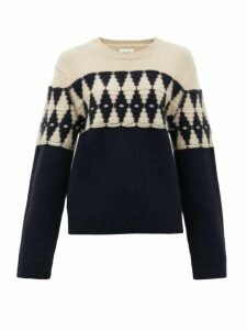 Khaite - Romme Diamond-jacquard Cashmere Sweater - Womens - Navy Multi
