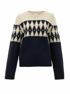Khaite - Romme Diamond-jacquard Cashmere Sweater - Womens - Navy Multi