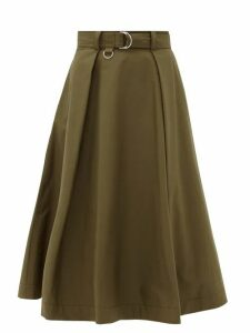 MSGM - High-rise Belted Cotton-blend Midi Skirt - Womens - Khaki