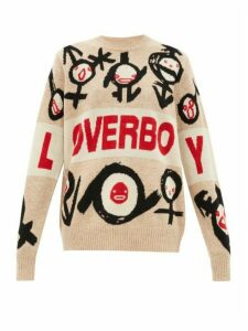 Charles Jeffrey Loverboy - Logo-intarsia Wool Sweater - Womens - Brown Multi