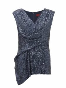 Sies Marjan - Neela Draped Sequinned Top - Womens - Navy