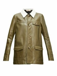 Marni - Contrast-collar Leather Jacket - Womens - Green