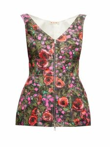 Marni - Zipped Floral-print Peplum-hem Faille Top - Womens - Pink Multi