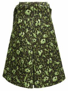 Marni - Floral-print Cotton-cloqué A-line Skirt - Womens - Green Multi