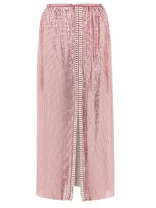 Paco Rabanne - Crystal-embellished Chainmail Midi Skirt - Womens - Pink