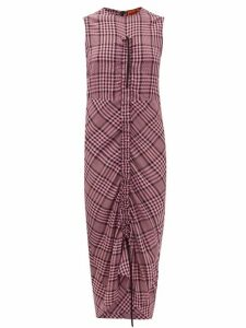 Colville - Drawstring-ruched Checked Crepe Dress - Womens - Pink Multi