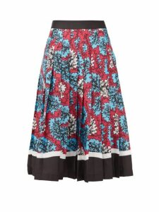 Mary Katrantzou - Nyx Abstract-printed Pleated Midi Skirt - Womens - Blue Multi