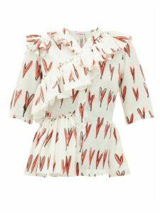 Charles Jeffrey Loverboy - Heart-print Ruffle-trim Silk Blouse - Womens - Red White