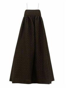 Cecilie Bahnsen - Beth Linen-blend Cloqué Midi Dress - Womens - Black