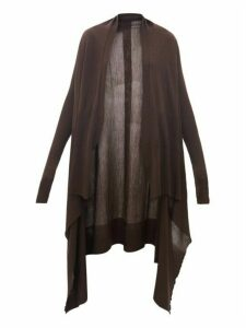Rick Owens - Longline Waterfall Merino-wool Cardigan - Womens - Brown