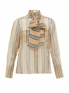Burberry - Amelie Icon-stripe Silk-georgette Blouse - Womens - Beige Multi