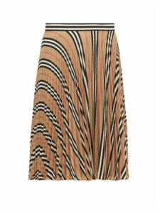 Burberry - Rorsby Icon-stripe Pleated Skirt - Womens - Beige Multi