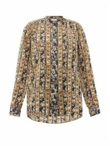 Isabel Marant Étoile - Mexika Floral-striped Cotton-voile Blouse - Womens - Navy Multi