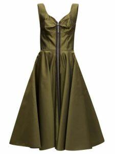 Marni - Zip-through Bustier-inspired Twill Midi Dress - Womens - Green