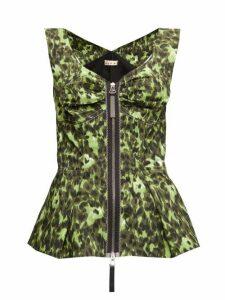 Marni - Abstract-print Zipped Peplum-hem Top - Womens - Green Multi