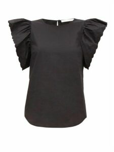 See By Chloé - Scalloped-sleeve Cotton-poplin Blouse - Womens - Black