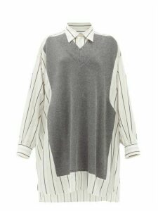 Maison Margiela - Deconstructed Oversized Knit-panel Cotton Shirt - Womens - Grey Stripe
