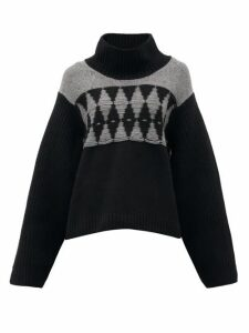 Khaite - Luna Argyle Cashmere Sweater - Womens - Navy Multi