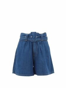MSGM - High-rise Belted Denim Shorts - Womens - Denim