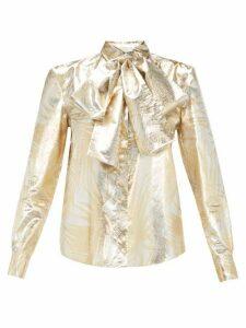Sara Battaglia - Pussy-bow Palm-leaf Brocade Blouse - Womens - Gold Multi