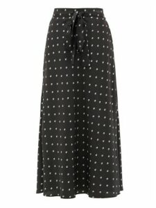 Lee Mathews - Roxie Floral-print Silk Midi Skirt - Womens - Black Print