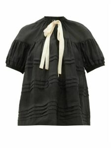 Lee Mathews - Gigi Pleated Puff-sleeve Ramie Blouse - Womens - Black