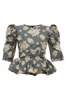 Brock Collection - Peplum-hem Floral-jacquard Top - Womens - Black Multi