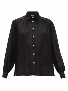 Ryan Roche - Faux-pearl Buttoned Silk Blouse - Womens - Black