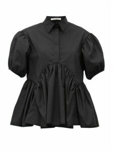 Cecilie Bahnsen - Ellie Puff-sleeve Peplum-hem Cotton Blouse - Womens - Black