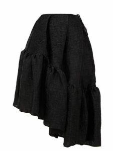 Cecilie Bahnsen - Dune Asymmetric Peplum-hem Matelassé Skirt - Womens - Black