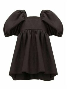 Cecilie Bahnsen - Rita Puff-sleeve Open-back Rose-jacquard Blouse - Womens - Black