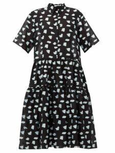 Cecilie Bahnsen - Primrose Tiered Rose Fil-coupé Shirtdress - Womens - Black Multi